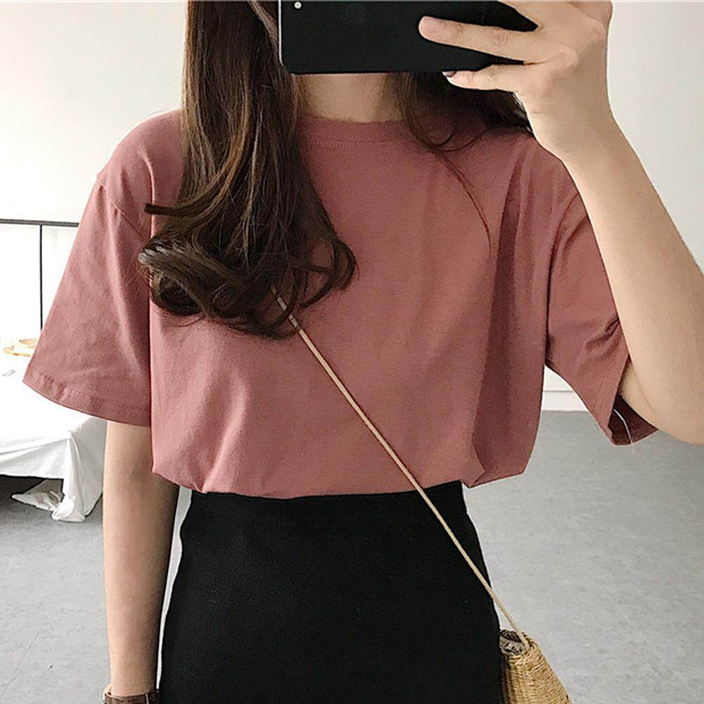 54e2cab018 [YP-HooWoo.MY]Women Short Sleeve Tops Simple Pure Color V Neck Casual T  Shirt Blouse