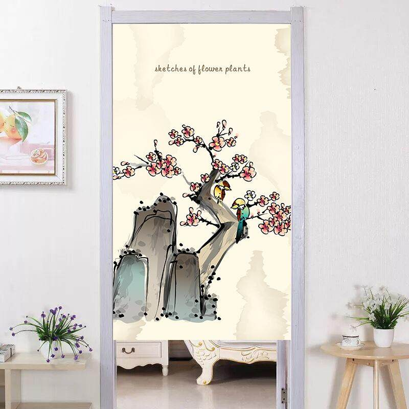 Chinese style  landscape Ink Mountain room decorative partition short  curtain fabric bedroom kitchen long Door curtain with rod