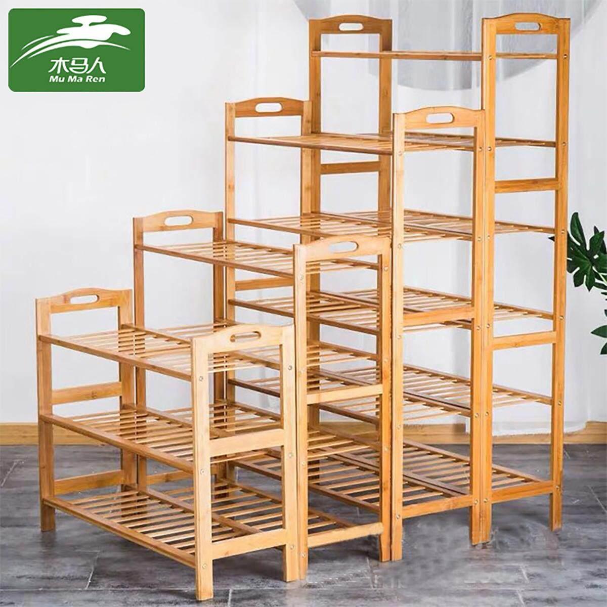 Mu Ma Ren 2/3/4/5 Tier Bamboo Shoe Rack - Home Storage Organization - Natural Durable Environmentally Friendly Organizer Renting/Decoration