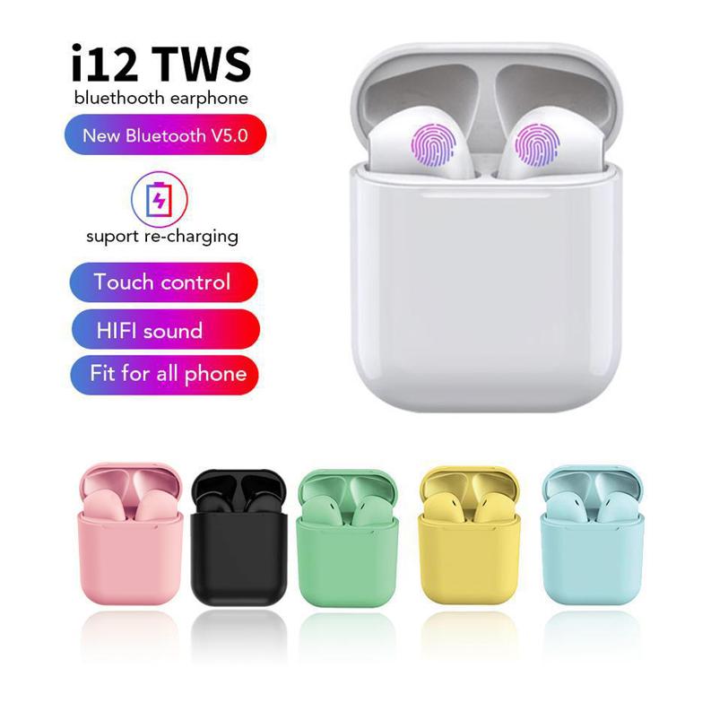 Acetor Inpods I7s/I12 Tai Nghe Gắn Tai Không Dây Tws I12 5.0 Tai Nghe Bluetooth Macaron Tai Nghe Không Dây Nhiều Màu Với Micrô Hộp Sạc Cho Xiaomi Samsung Huawei Vivo Điện Thoại Android Và iPhone