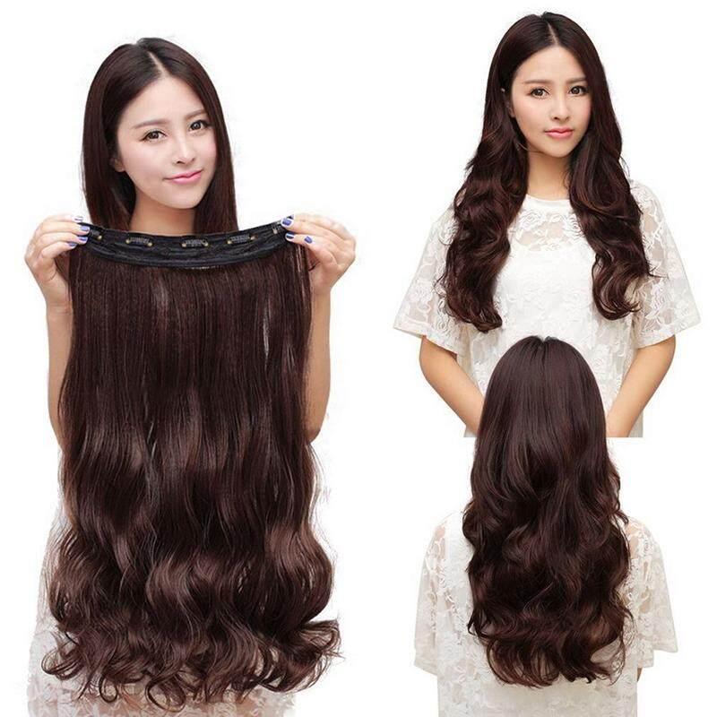 Dark Brown Women Fashion Long Wig Stylish Curl Wavy Clip-on Extension Hair  Wig Hair 74e671fe2