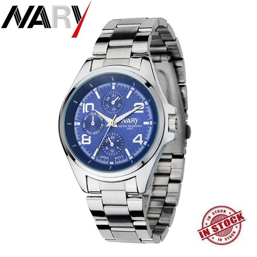 Best Quality NARY 6050 Mens Classical Stainless Steel Band Quartz Watch Quartz Movement 30M Waterproof Malaysia