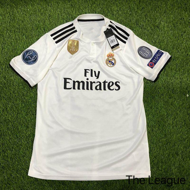 44caf232e98 2019 UEFA Real Madrid Home and Away With League armband and Respect Full  Ball Patch Football