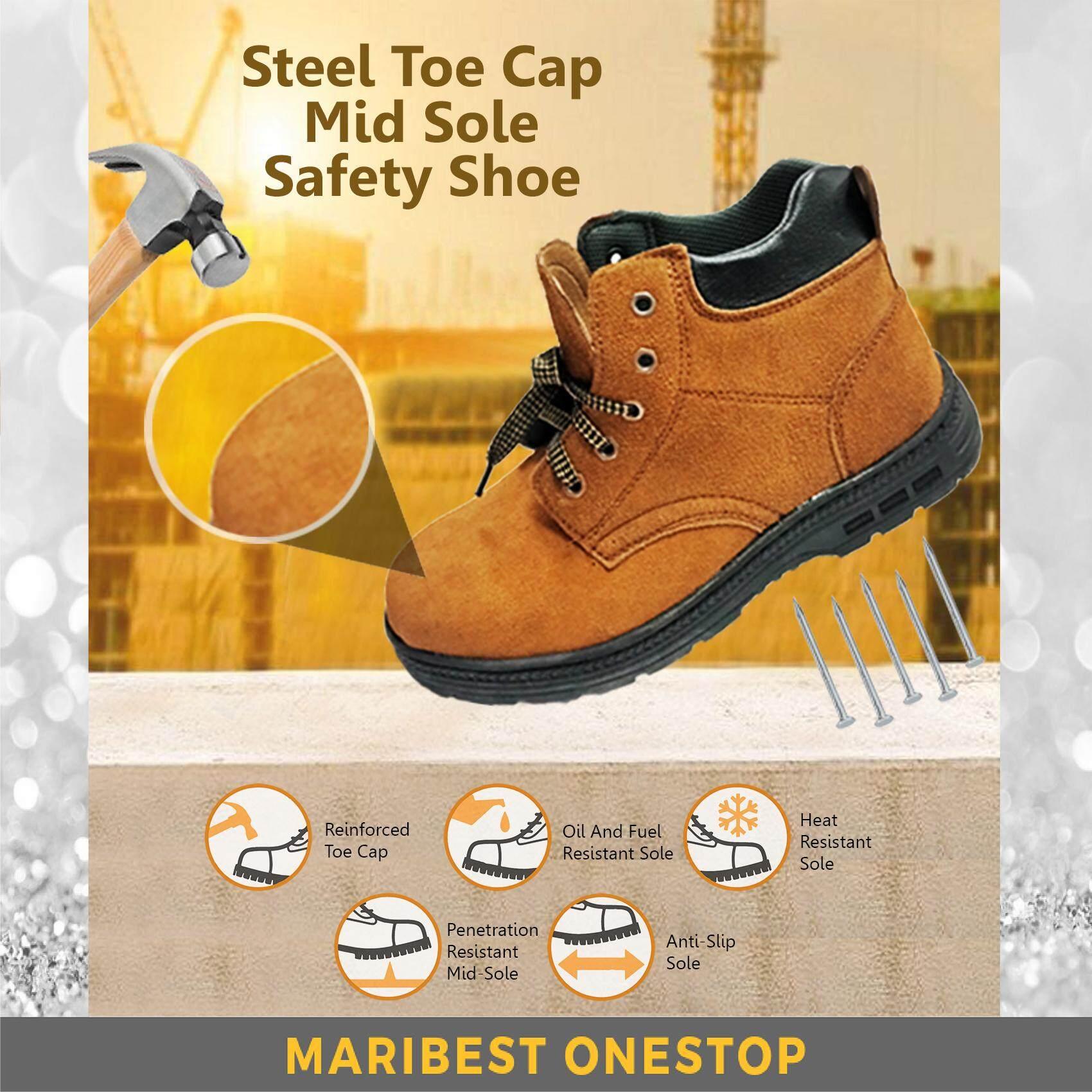 Safety Shoe Steel Toe Cap Mid Sole Medium Cut Brown