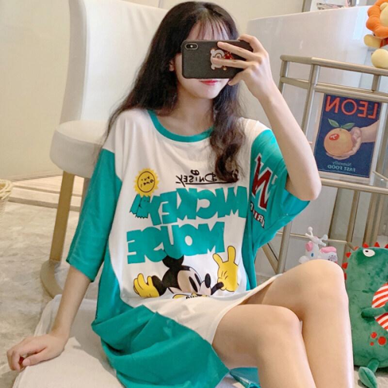 Nơi bán 2020 Bộ Đồ Ngủ Mùa Hè Sữa Áo Ngủ Bằng Lụa Ngắn Tay Hoạt Hình Cô Gái Kiểu Rộng Dễ Thương Váy Đáng Yêu Có Thể Được Mặc Bên Ngoài Nhiều Màu Tùy Chọn