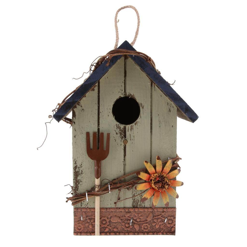 Blesiya มือ-ทาสีไม้ Birdhouse กับเชือกปอกระเจาบ้านการแต่งสวนนอกอาคาร.