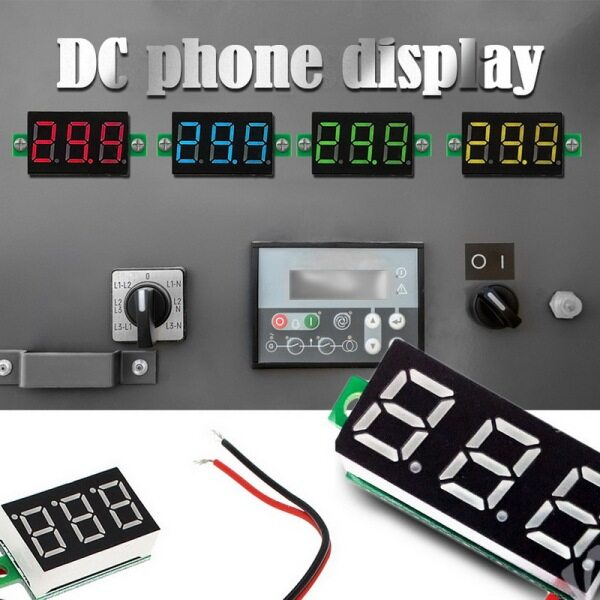 Yellow Two Wire 0.28  DC 2.4~30V Digital Voltmeter Voltage Gauge Tester with Reverse Polarity Protection