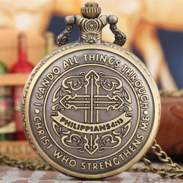 AIKEN Philippians 4:13 I Can Do All Things Men Women Quartz Pocket Watch Necklace Chain Malaysia