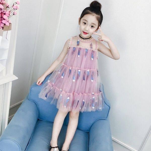 Váy Bé Gái Mùa Hè Mới Phong Cách Hàn Quốc Phong Cách Phương Tây Màn Hình Lụa Chân Váy Công Chúa
