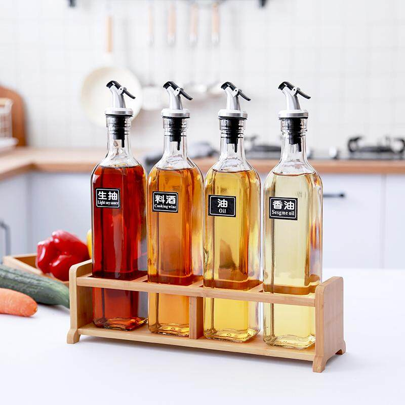 Household Seasoning Box Glass Oil Bottle Soy Sauce Bottle Only Beautifulness) Bottle; Vinegar (jealousy) Bottle; Medicine (sickness) Combination Kitchen Leak-Proof Oil Jar Flavored Bottled Oil Bottle Oiler By Taobao Collection.