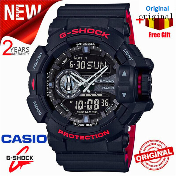 (Ready Stock) Original G Shock GA-400HR-1A Men Sport Watch Duo W/Time 200M Water Resistant Shockproof and Waterproof World Time LED Auto Light Wrist Sports Watch with 2 Year Warranty GA400/GA-400 Malaysia