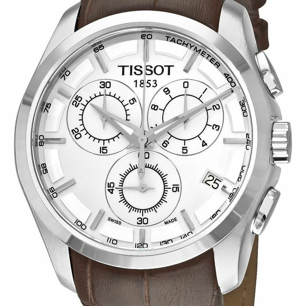 t.i.s.s.o.t Mens Silver Stainless Steel  Watch With Brown Leather Band Malaysia