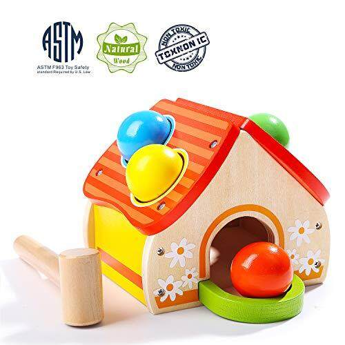 Top Bright Ball Hammer Toy For One Year Old Boy Gifts Wooden Pounding Toy Toddlers 1 3 Color Matching Learning Toy For 1 2 Year Old