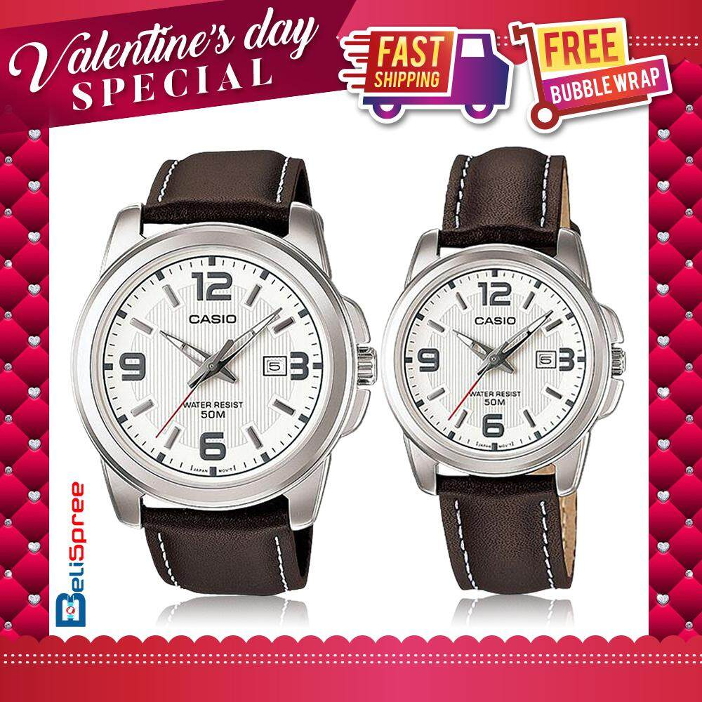 Casio MTP-1314L-7A & LTP-1314L-7A Couple Set Classic Brown Genuine Leather Band Watches Malaysia