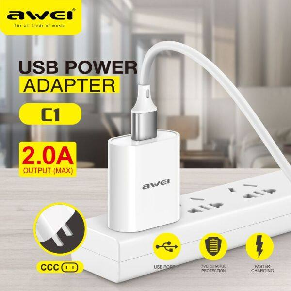 Sạc Điện Thoại Di Động USB Awei C1 Cổng Sạc 2.0 Bộ Chuyển Đổi Tường Di Động, Điện Thoại Di Động Phổ Thông