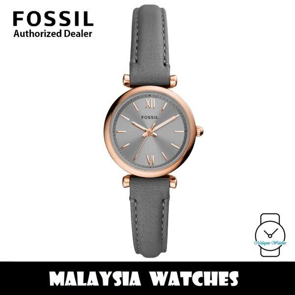 (OFFICIAL WARRANTY) Fossil ES5068 Carlie Mini Three-Hand Grey Leather Womens Watch (2 Years Fossil Warranty) Malaysia