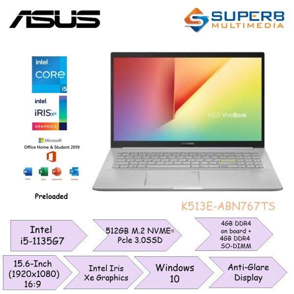Asus Vivobook K513E-ABN767TS | ( i5-1135G7 / 8GB / 512GB / Intel Iris Xe Graphics / 15.6 / W10 / OPI / 2 Yrs Warranty ) Malaysia