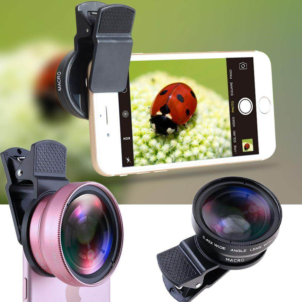 1 * มืออาชีพมาโครออปติคอลซูมกล้อง Hd สากล 0.45x มุมกว้างโทรศัพท์มือถือเลนส์คลิปกล้องโทรทรรศน์.