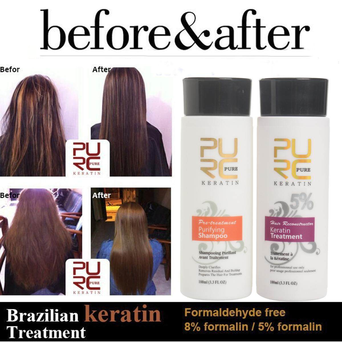 Pure Brazilian Keratin Hair Straightening Treatment 100ml Blow Dry + Shampoo Kit By Glimmer.
