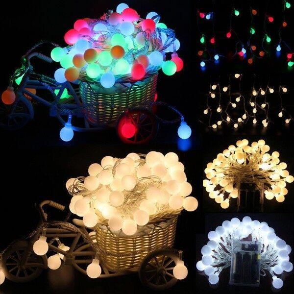 Dây Đèn LED Hình Cổ Tích 1.5M 3M 4M 5M Bóng Đèn Tròn Giáng Sinh Trang Trí Đèn Lồng Sáng Tạo Dùng Pin Cho Tiệc Cưới