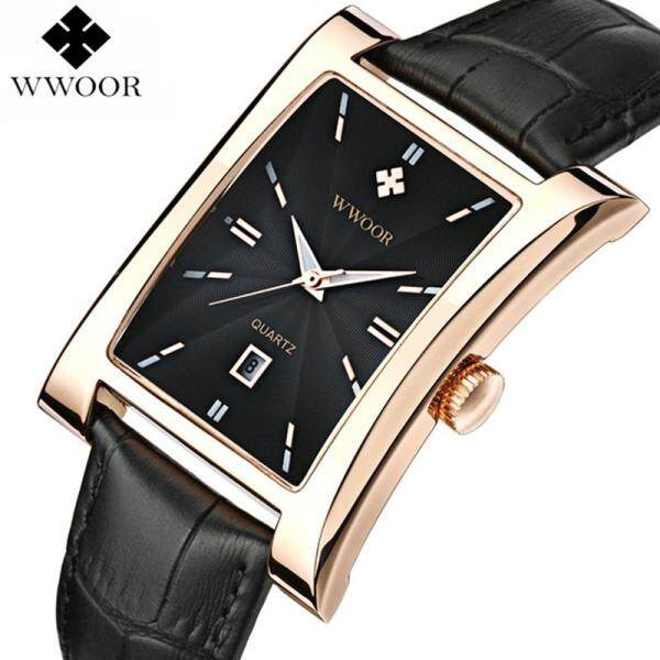 WWOOR Luxury Brand Mens Ultra-Thin Square Wrist Chain Quartz Watch Luxury Leather Strap Business Mens Casual Outdoor Sports Waterproof Watch Malaysia
