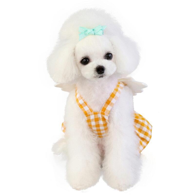 New Pet Chân Váy Kẻ Caro Mùa Xuân Và Mùa Hè Quần Áo Thú Cưng Giả Cánh Chân Váy Kẻ Caro/Vàng