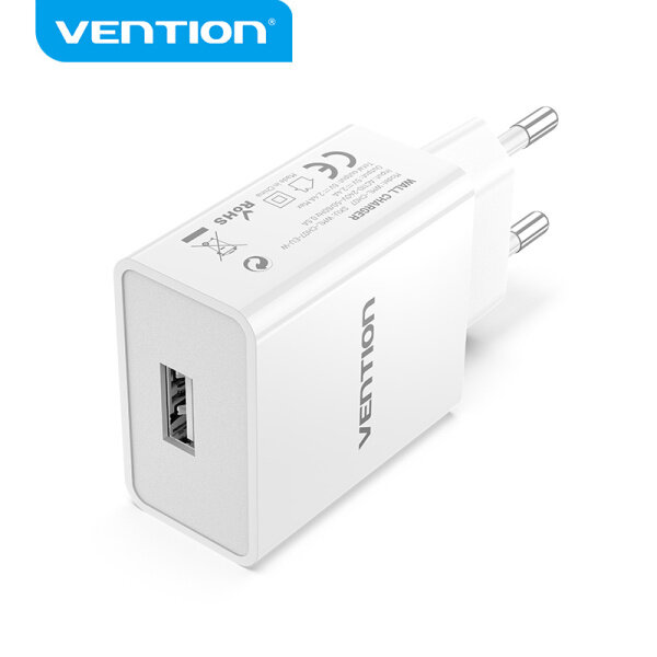 Vention USB Wall Charger 1 Port 12W Fast Charging EU Plug USB Charger for ipad iPhone Samsung Huawei Xiaomi OPPO 1 Port USB Charger