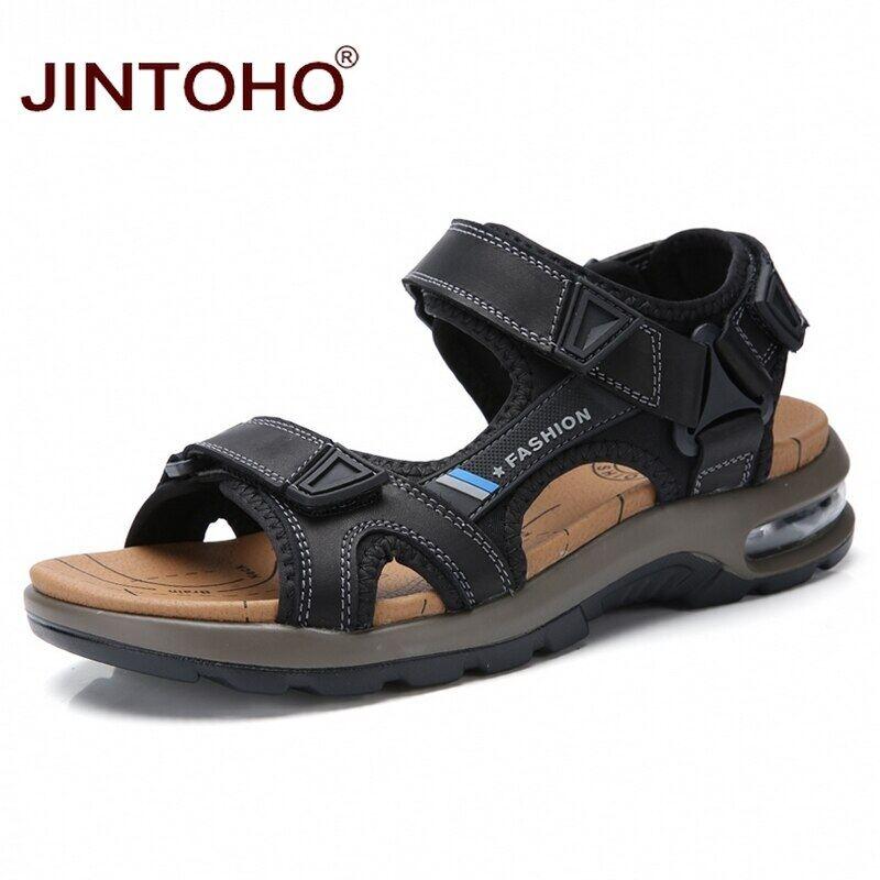 JINTOHO Thương Hiệu Người Đàn Ông Mùa Hè Dép Thời Trang Giày Đi Biển Da Chính Hãng Thoải Mái Giày Thường Nam Phong Cách La Mã Big Size