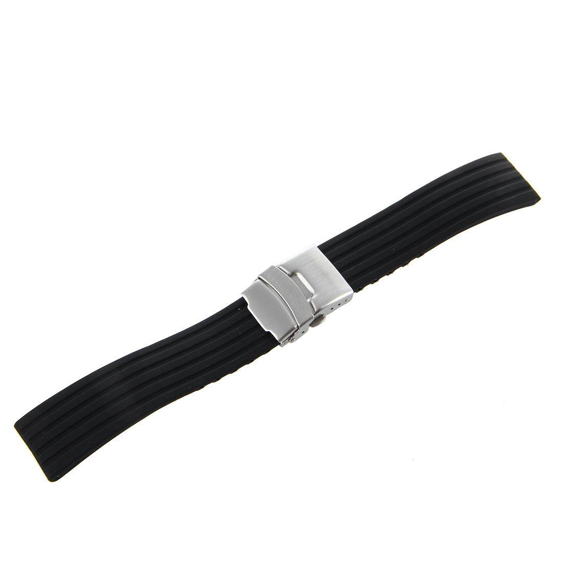 Black Silicone Rubber Watch Strap Band Deployment Buckle Waterproof 22mm Malaysia