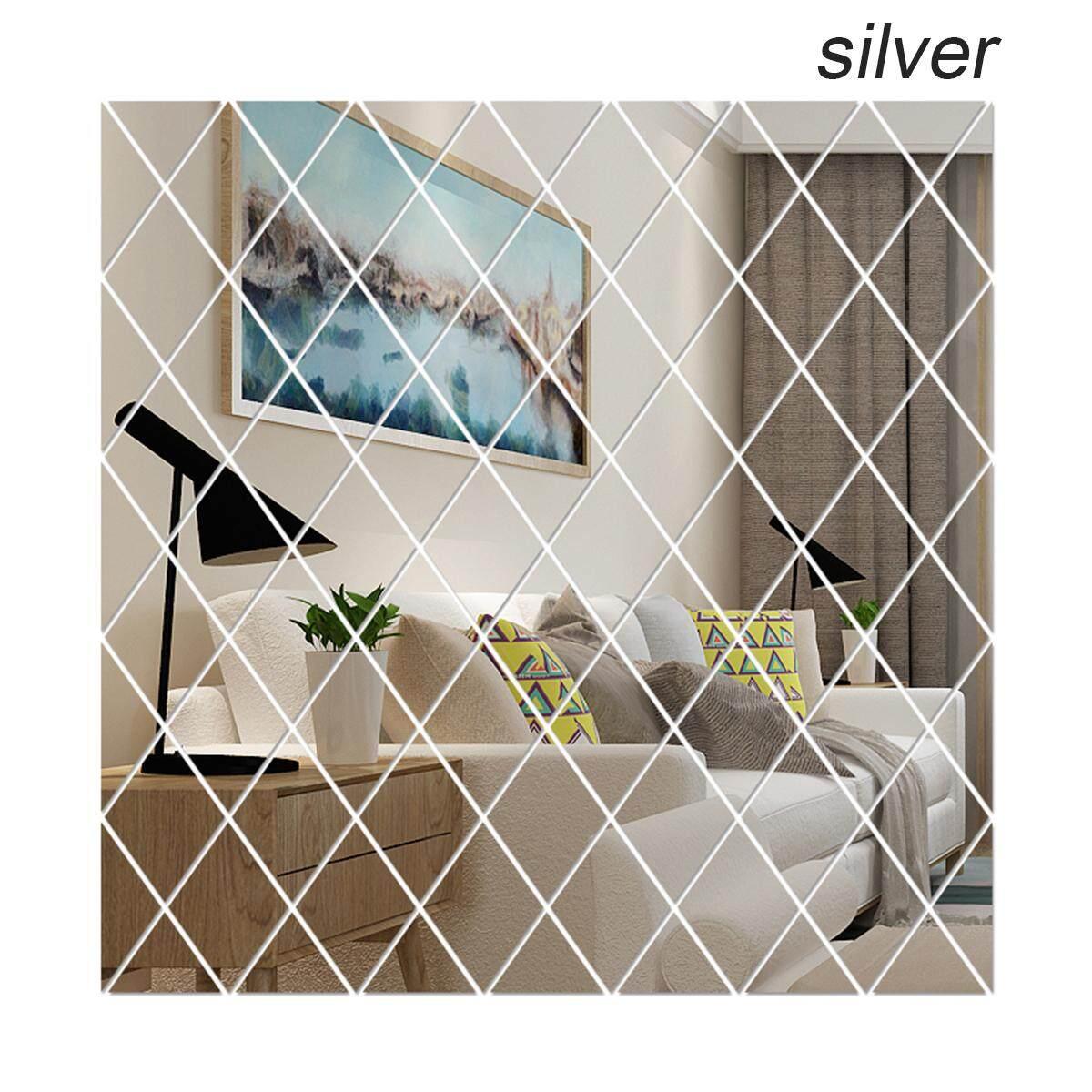 [S / M / L ] Diamonds Triangles Acrylic Mirror Wall Sticker 3D DIY Living Room Home Decor (50*50cm,50*100cm,100*100cm)