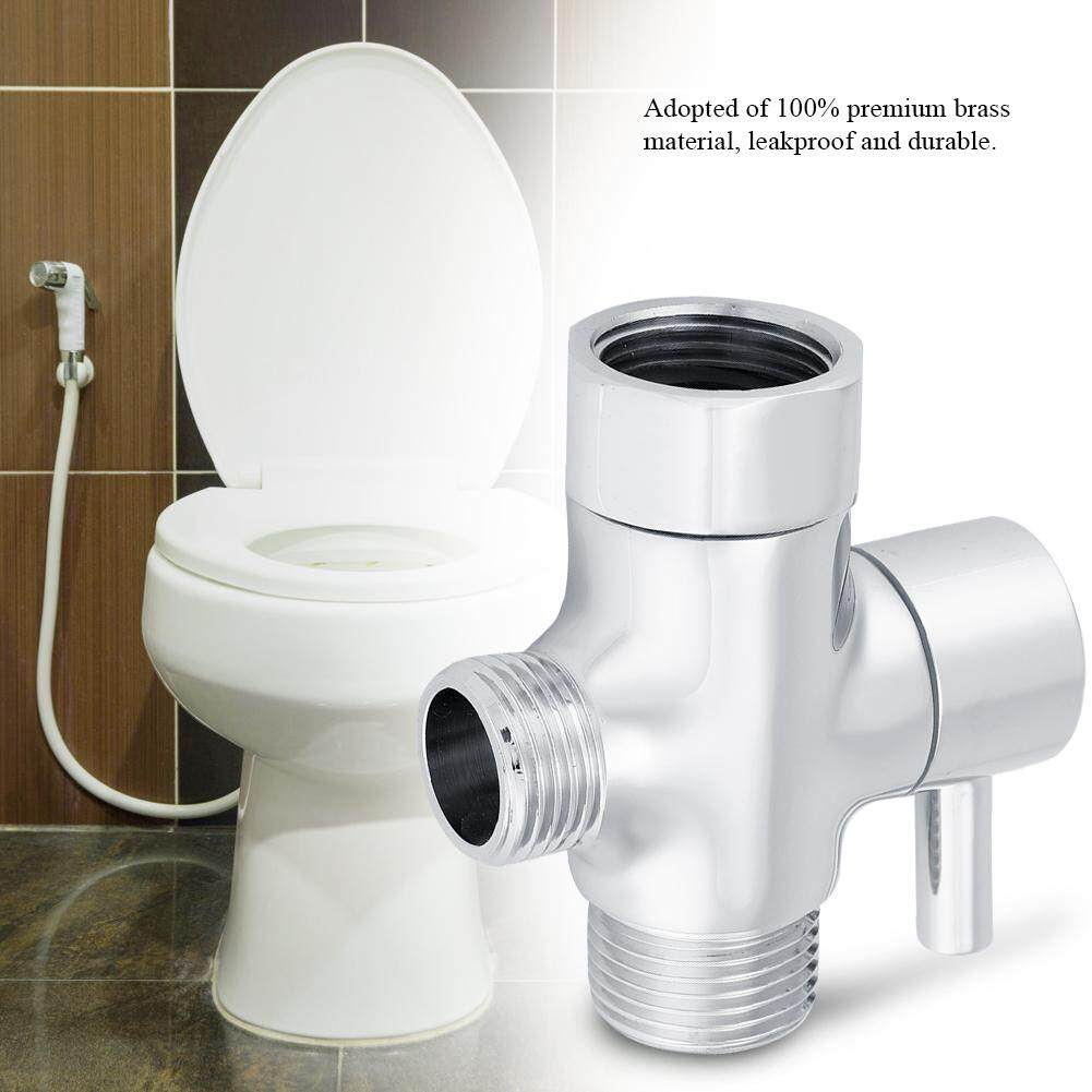 Chrome Brass 3 Way Tee Connector T-adapter Shut-off Valve for Toilet Bidet American Standard