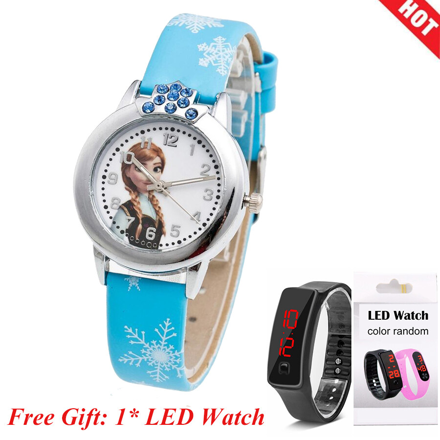 【Buy 1 Get 1 Free 】YB1154 Princess Elsa Pattern Children Watch Fashion Crystal Cartoon Leather Strap Quartz Wristwatch Casual Girls Kids Clock FWKI 01 Malaysia