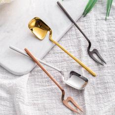 SHOOTHE Tay Cầm Dài Nĩa Trái Cây 1 Cái Bộ Đồ Ăn Phong Cách Sang Trọng Muỗng Cà Phê Dụng Cụ Nhà Bếp Bánh Thép Không Gỉ Món Tráng Miệng Dĩa