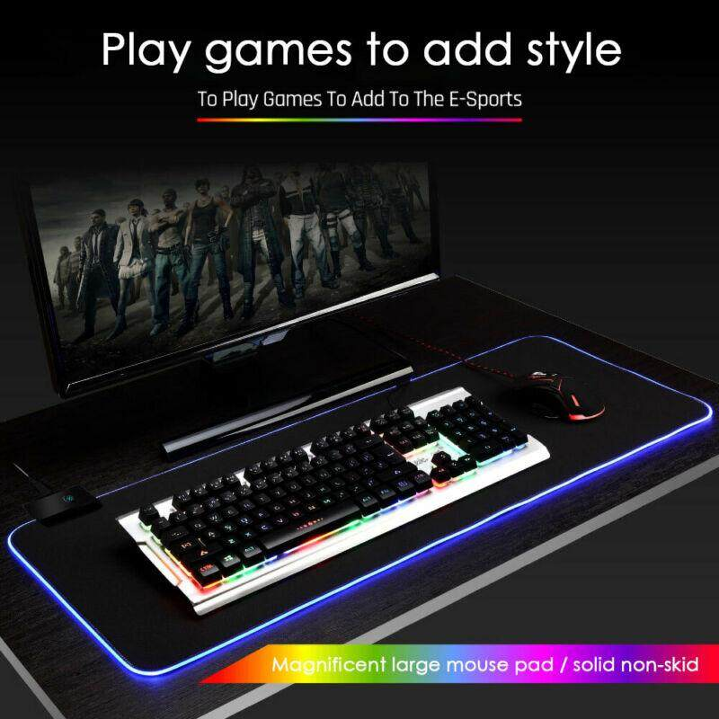 Re RGB Colorful LED Lighting Gaming Mouse Pad Mat for PC Laptop S/M/L Malaysia