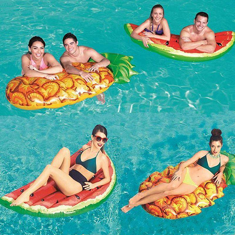 efuture New floating drainage on inflatable floating bed watermelon pineapple shape swimming ring adult