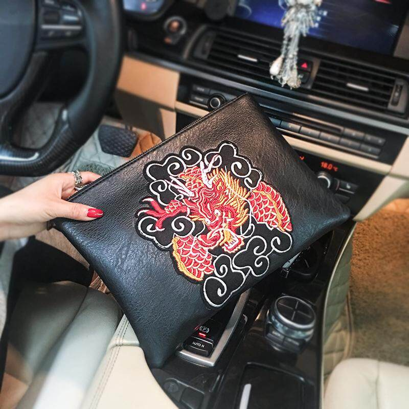 Tidog Chinese style embroidery dragon pattern IPAD clutch bag