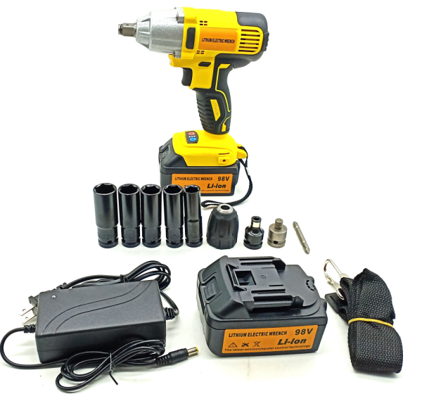 NEW 98V Brushless Cordless Electric Impact Wrench Cordless Impact Drill Driver With 2 Battery Applications for Tripod /Tire Installation / Woodworking Drilling And Tripod Removal
