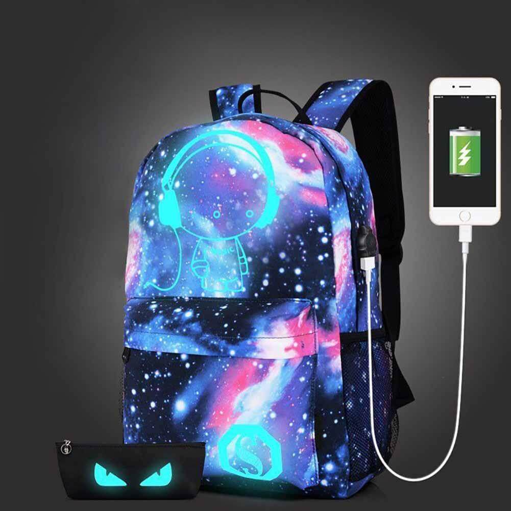 New Galaxy School Bag Backpack Collection Canvas USB Charger for Teen Girl Kids