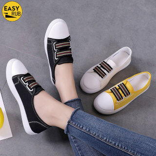 EASY RUB Giày Vải Gót Bệt Co Giãn Mũi Tròn Cho Nữ Giày Học Sinh thumbnail