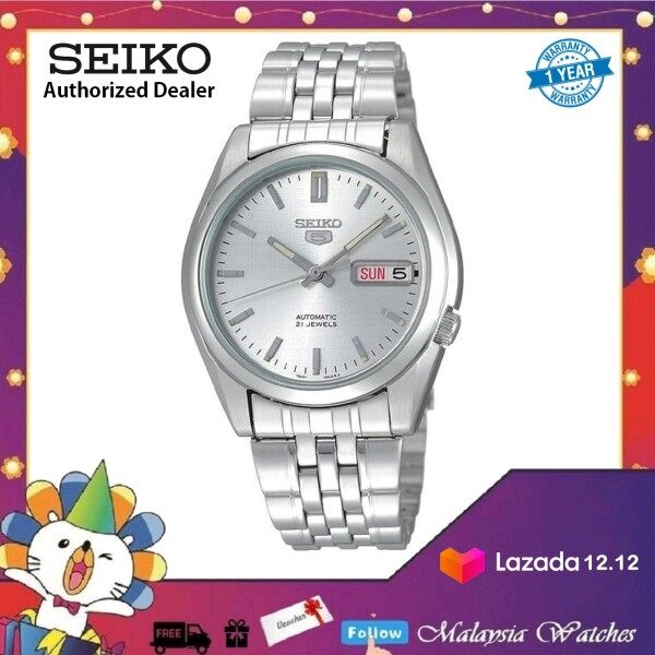 Seiko 5 Automatic SNK355K1 Silver Dial See-thru Back Case Stainless Steel Bracelet Watch Malaysia