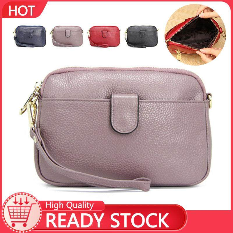 Johnn fashion wristlets leather European and American shell wallet clutch bag lychee pattern shoulder Messenger bag【READY STOCK - High Quality 】