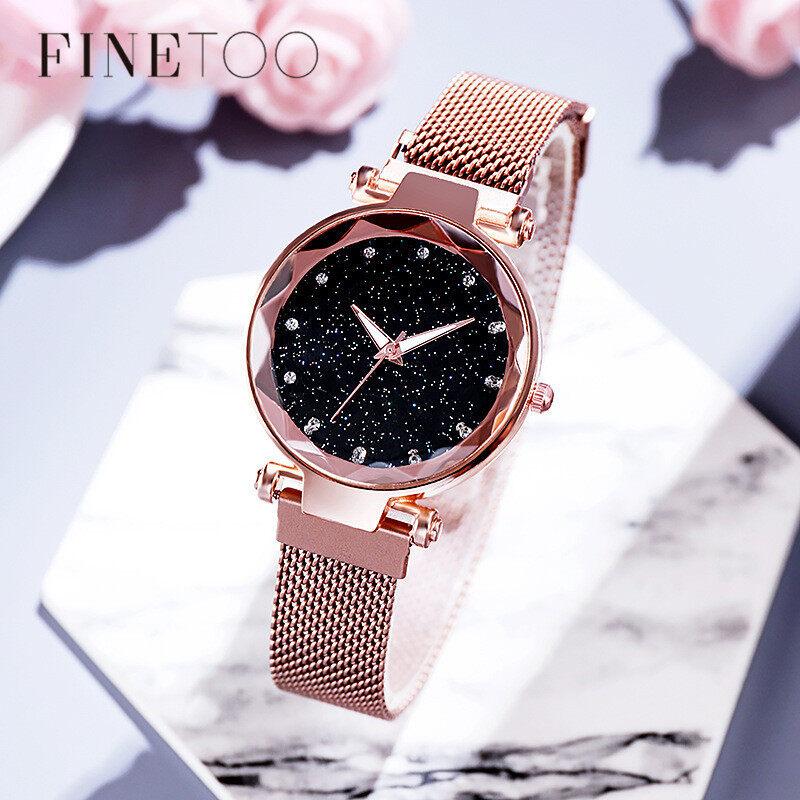 Đồng hồ Luxury Starry Sky làm từ thép không gỉ có đính hạ pha lê lấp lánh FINETOO