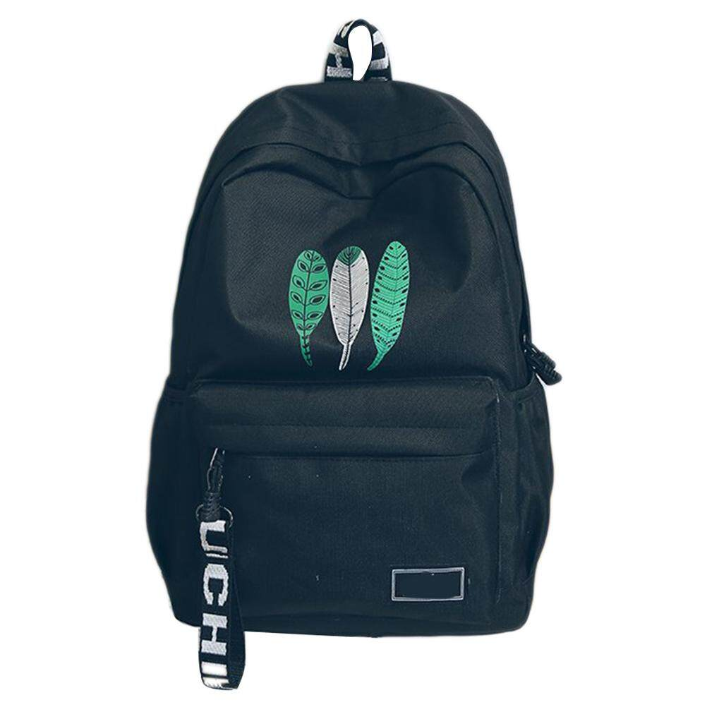 Giá bán Rovo_Fashion Feather Students School Backpack Durable Canvas School Bags Shoulder Bag Travel Rucksack