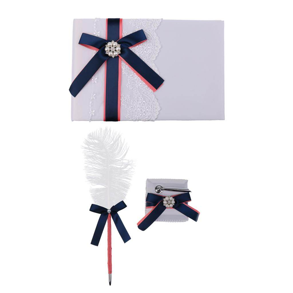 Dolity 1 Set Bow Guest Signing Pen Guestbook Pen Holder for Wedding Bnquet Supplies