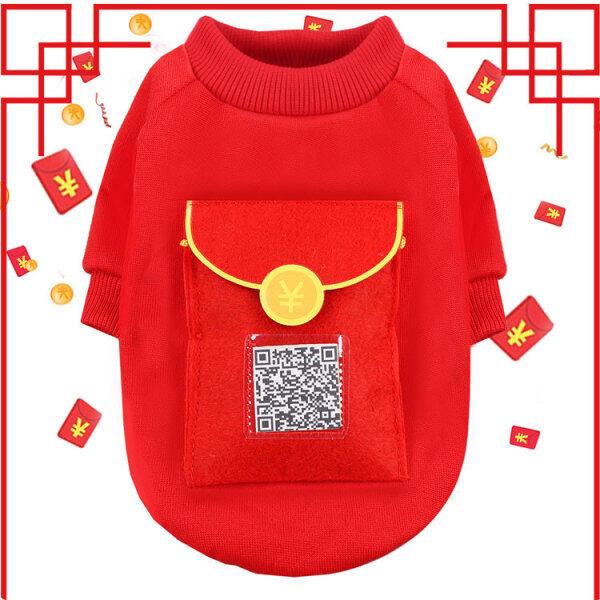 Áo Hoodie Yuyuan Cho Lễ Hội Đỏ Áo Khoác Phong Bì Màu Đỏ Trang Trí Túi Phong Cách Năm Mới Cho Cún Con Và Mèo Con Dễ Thương