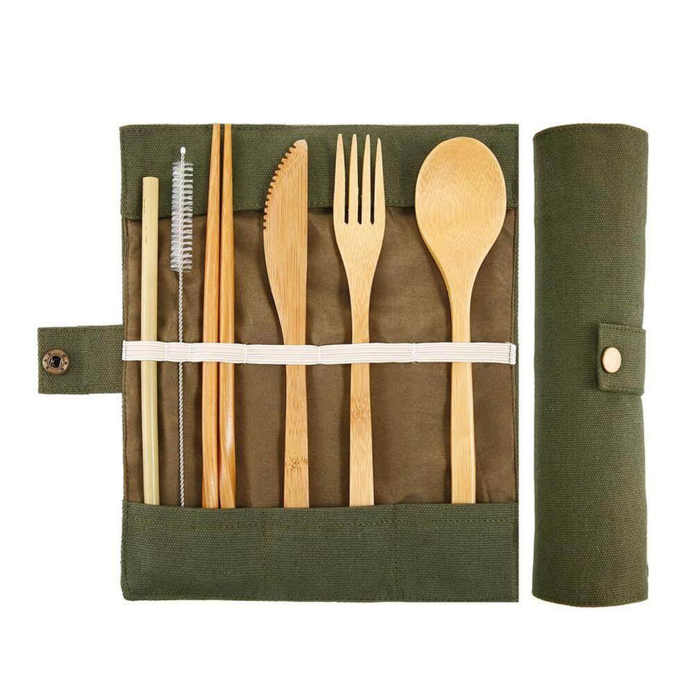 Outdoor Picnic Knifes Fork Portable Bamboo Tableware Set Spoon Straws Utensil