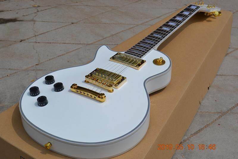 New White Left Handed Electric Guitar,Gold Hardware Mahogany Body 181 Malaysia