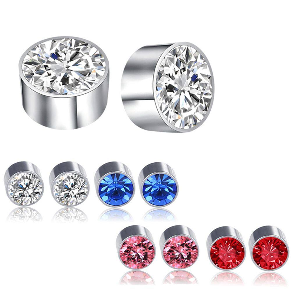 Punk Unisex Jewelry Stainless Steel Rhinestone Magnetic Earrings Lip Nose Stud Crystal Ear Stud Stud Earrings Lazada Singapore