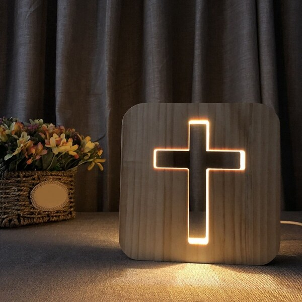 Bảng giá 3D LED Lamp Night Light USB Desk Table Lamps Christianity Crucifix Crafts for Gift Home Decoration Wooden Cross