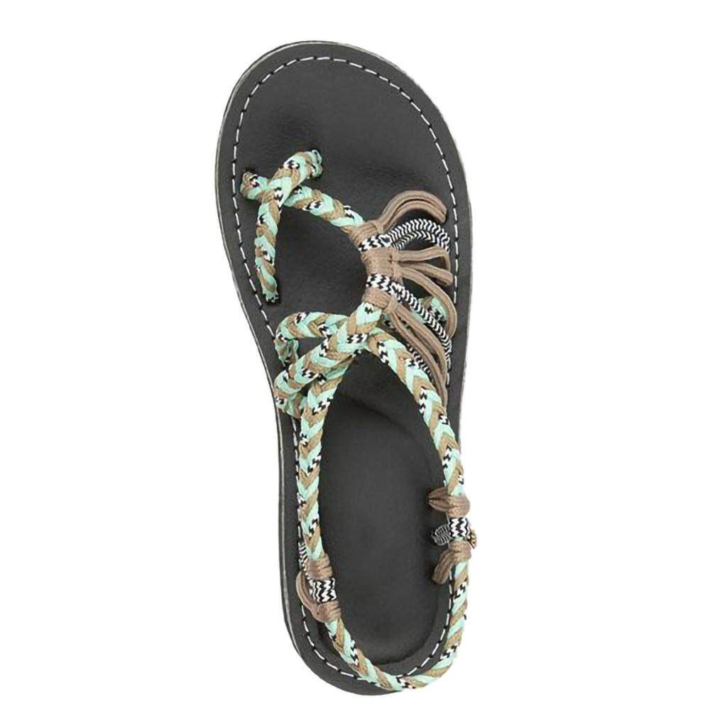 826cd28581fbef Guo Women Hemp Rope Flip Flops Sandals Summer Fashion Roman Beach Shoes  Slippers